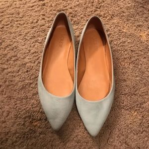 j crew baby blue pointed flats